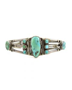 Navajo Turquoise and Silver Bracelet c. 1920, size 7