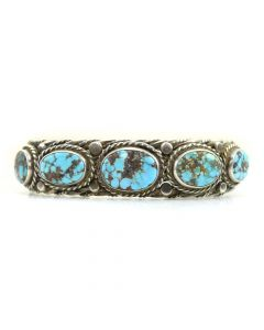 Navajo Turquoise and Silver Rope Design Bracelet c. 1950, size 6