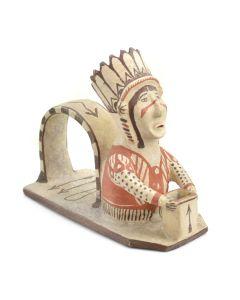 "Zuni Polychrome Indian Figure Toothpick Holder c. 1900, 7"" x 3.5"" x 8.5"""