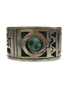 Paul Saufkie - Hopi Turquoise and Silver Overlay Bracelet c. 1940-50, size 7