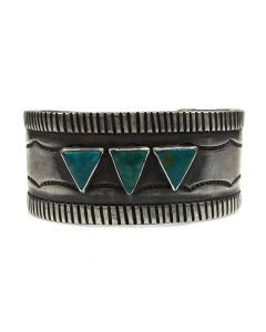 Navajo Arts and Crafts Guild Turquoise and Silver Bracelet c. 1930-40, size 7