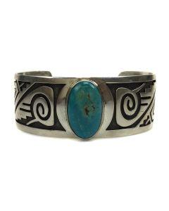 Riley Polyquaptewa - Hopi Turquoise and Silver Bracelet c. 1950-60, size 6.75