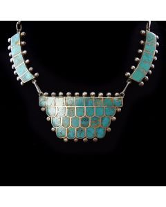 """Zuni Turquoise Channel Inlay and Silver Necklace c. 1940, 16"""" length"""