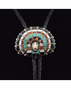 "Zuni Multi-stone Inlay and Silver ""Chief"" Bolo Tie c. 1950-60, 1.75"" x 2.25"""
