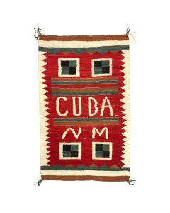 """Navajo Crystal """"CUBA N.M"""" Rug c. 1920, 64"""" x 40"""""""