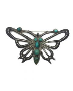 "Navajo Turquoise and Silver Butterfly Pin c. 1930-40, 1.75"" x 3"""