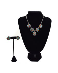 Zuni Turquoise and Coral Channel Inlay Necklace and Screwback Earrings Set c. 1940