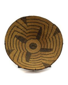 "Pima Basket with Geometric Design c. 1890, 4"" x 16"""