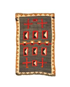 "Navajo Hubbell Ganado Rug with Whirling Logs c. 1900, 60"" x 38.5"""