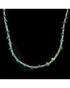 Navajo Turquoise and Heishi Necklace c. 1960, 25.5""