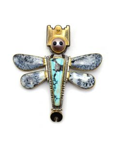 """Victoria Adams - Southern Cheyenne Arapaho 14K Gold, Turquoise, Citrine, Dendritic Opal, Mother of Pearl, and Jet Pin c. 1950s, 3.25"""" x 3.25"""""""