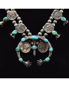"""Navajo Turquoise and Silver Squash Blossom Necklace with Liberty Dimes c. 1960s, 22"""" length"""