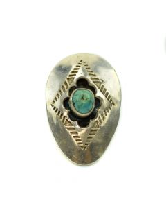 Navajo Turquoise and Silver Ring c. 1960s, Size 5
