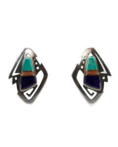 "Duane Maktima (b. 1954) - Laguna/Hopi Turquoise, Sugilite, Pink Coral and Sterling Silver Earrings c. 1993. 1.5"" x 1"""