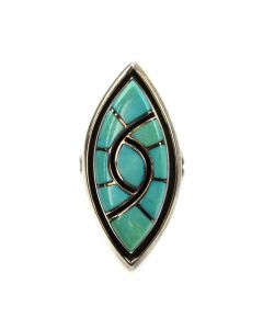 Amy (b. 1953) and Dickie (b. 1953) Quandelacy - Zuni Turquoise Channel Inlay and Silver Ring c. 1980s size 4.5