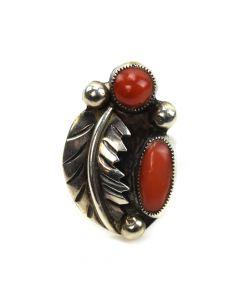 Navajo Coral and Silver Ring with Feather Design c. 1960s, size 5.5