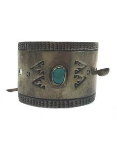 "Ambrose Roanhorse - Navajo Turquoise and Silver Hair Pin c. 1940s, 1.125"" x 2.25"""