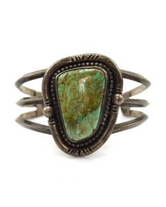 Lot 121 - Navajo Turquoise and Silver Bracelet c. 1950s, size 6.75 (J9572)