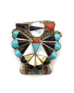 Zuni Multi-Stone Inlay Bird Bolo Piece c. 1960s