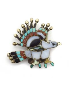 Charlotte Dishta - Zuni Multi-Stone Inlay Eagle Bolo Piece c. 1980s