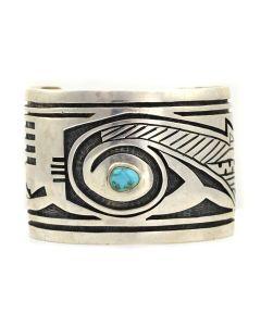 Watson Honanie - Hopi Turquoise and Silver Overlay Bracelet c. 1970s, size 7.5