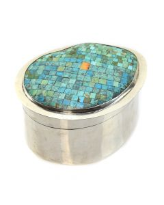 "Turquoise, Spiny Oyster, Shell and Silver Indian Box c. 1950-60s, 3.5"" x 6.5"" x 5.5"""