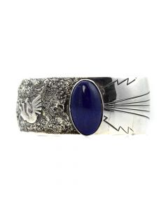 Foster Yazzie (d. 2001) - Navajo Lapis Lazuli and Sterling Silver Bracelet c.