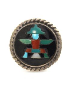 Lot 147 - Zuni Multi-Stone Inlay and Silver Ring with Knifewing God Design c. 1950s, size 5.5 (J91051-1018-010)