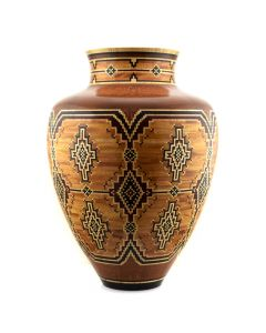Marilyn Endres and Eucled Moore - Large Olla with Curly Maple, Australian Lacewood, Mahogany and Padouch, 12,000 Segments