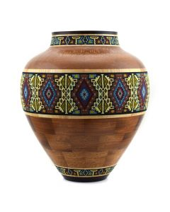 Marilyn Endres and Eucled Moore - Beaded Vessel with Wenge, Curly Maple, Australian Lacewood, and Mahogany