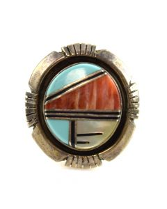 Navajo Multi-Stone Inlay and Silver Ring c. 1980s, size 6