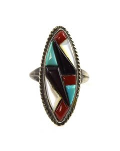Zuni Multi-Stone and Silver Ring c. 1980s, size 5