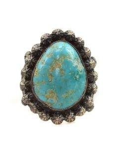 Navajo Turquoise and Silver Ring c. 1930s, size 6