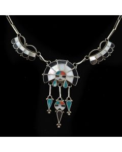 """Zuni Multi-Stone Inlay and Silver Necklace c. 1940s, 15"""" length"""