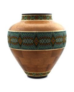 Marilyn Endres and Eucled Moore - Beaded Green Energy Pattern Vessel with Wenge, Curly Maple, African Mahogany and Australian Lace Woods