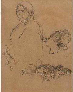 """Maynard Dixon (1875-1946) - Sketch for """"Three Navajos"""" Ganado, Arizona '02"""