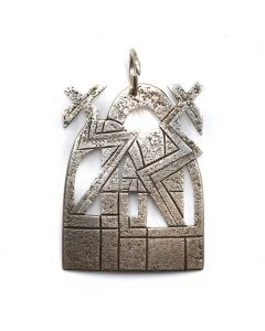 "Victor Masayesva - Hopi Silver Stamped Pendant c. 1970-80s, 2.125"" x 1.625"""