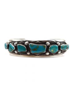 Navajo Turquoise and Silver Bracelet with Stamp Designs c. 1930s, size 6.5