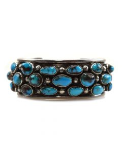 Navajo Bisbee Turquoise and Silver Bracelet c. 1960s, size 6.75