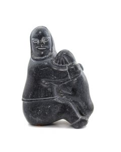 "Inuit Grey Soapstone Woman Sitting, Holding Seal c. 1980, 9.75"" x 6.75"" x 4"""