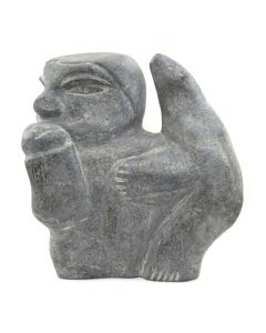 "Inuit Grey Soapstone Pensive Man with Beard c. 1979, 12"" x 11"" x 6"""
