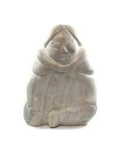"Munomeehota of Cape Dorset - Inuit Marble Figure of Woman c. 1979, 20.5"" x 14"" x 9"""