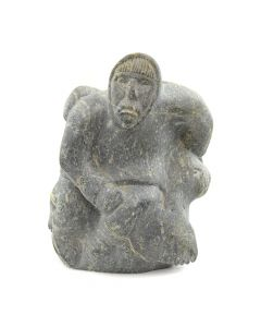 "Inuit Soapstone Man Carrying Boars c. 1977, 11.5"" x 8"" x 11"""