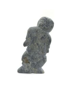 "Manoee of Eskimo Point - Inuit Grey Soapstone Standing Woman c. 1977, 2.5"" x 1.5"" x 5"""