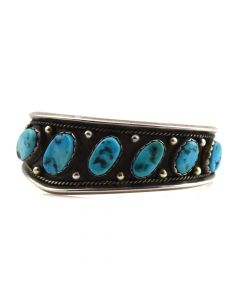 Navajo Asymmetrical Turquoise and Silver Bracelet c. 1960s, size 6.5
