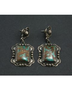 SOLD Al Somers - Apache / Blackfoot Turquoise and Silver Earrings