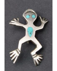 "Navajo Silver Frog Pin with Turquoise Inlay, circa 1960s, 1.25"" x 0.75"""