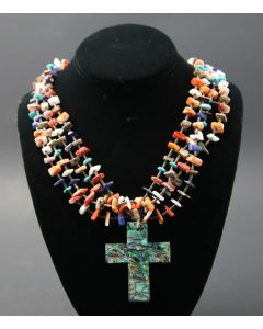 "Ava Marie Coriz ""Cool-Ca-Ya"" (1948-2011) - Santo Domingo (Kewa) Four Strand Necklace with Abalone Cross, 2.5"" x 2"" Pendant (J90106-027-014)"