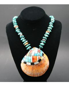 "Ava Marie Coriz ""Cool-Ca-Ya"" (1948-2011) - Santo Domingo (Kewa) Turquoise and Jet Necklace with Inlaid Shell, 26"" (J90106-027-018)"