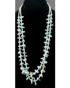 """Ava Marie Coriz """"Cool-Ca-Ya"""" (1948-2011) - Santo Domingo Two Strand Shell and Turquoise Necklace, 26"""""""